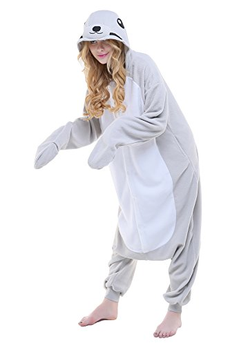 CANASOUR Polar Fleece Adult Halloween Party Unisex Women's Onesie Cosplay Costume (Small, Grey ()