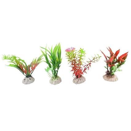 Amazon.com : eDealMax 4-pieza de plástico plantas artificiales acuario, DE 4, 3 pulgadas, Borgoña/Verde : Pet Supplies