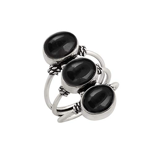 (925 Silver Plated Black Onyx Ring 3 Stone Vintage Style Handmade for Women Girls (Size-5.5))