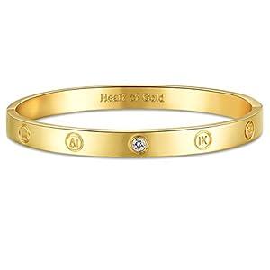 GuqiGuli 14k Yellow/Rose/White Gold Plated Fashion Idiom Hinged Bangle Bracelets for Women and Girls, 7″