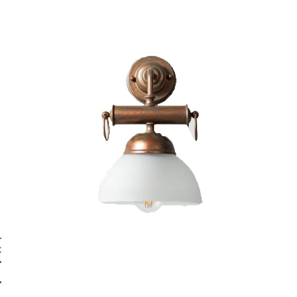 Wandleuchte American Retro Restaurant Stab Lampe Nachttischlampe Loft Gang Glas Lampenschirm LED Wandleuchten,Weiß