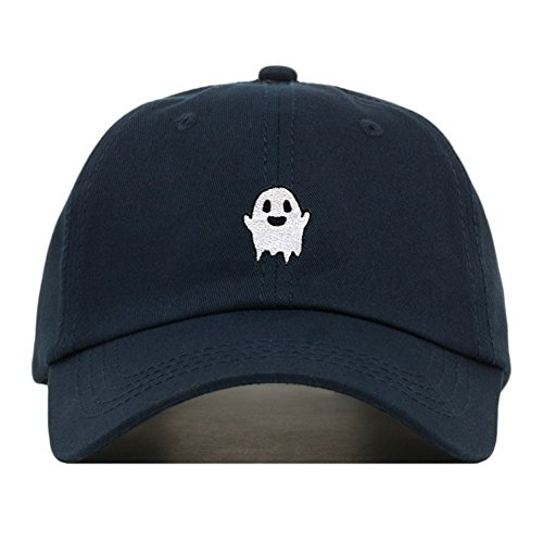 Ghost Dad Hat, Embroidered Baseball Cap, 100% Cotton, Unstructured Low Profile, Adjustable Strap Back, 6 Panel, One Size Fits Most (Multiple Colors) (Navy)