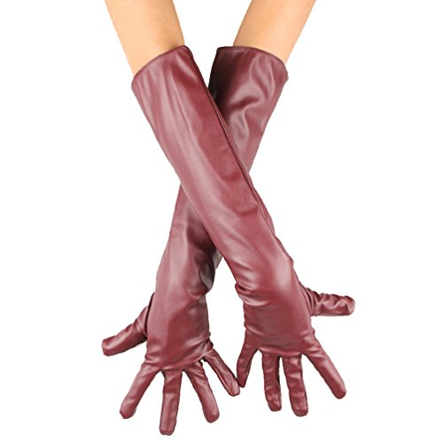Ecosco Women Long Soft Imitation Leather Gloves (dark red) by ECOSCO