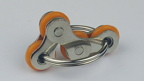 Flippy Stainless Steel Bike Chain Fidget Toys Relieve Your Stress, Anxiety, & Boredom all at your Finger Tips! Also Helps ADD, ADHD, & Autism (B-Orange)