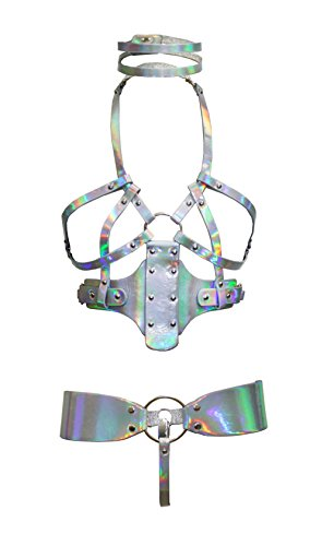 Womens Holographic Joque Body Harness 3 Piece Set with Choker Bra and Joque Strap - Joque Harness
