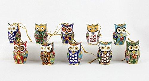 ARTIST Chinese Handmade Cloisonne Enamel Owl Christmas Ornaments(10 pcs)