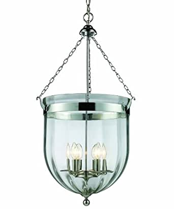 Z-Lite 137-34 Warwick Six Light Pendant, Metal Frame, Chrome Finish and Clear Shade of Glass Material