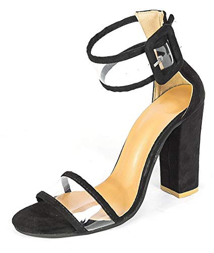 Women's High Heel Platform Dress Pump Sandals Ankle Strap Block Chunky Heels Party Shoes - Black 6.5M US(Tag EU -