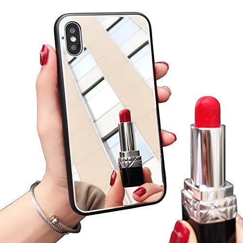 [Updated Version] Real Mirror Case Luxury Clear Back Mirror Shock-Absorption TPU Bumper Case Anti-Scratch Bright Reflection Protective Case Cover for Apple iPhone (X/XS)