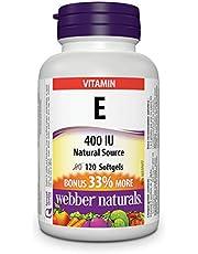 Webber Naturals Vitamin E, Natural Source, Softgel, 400 IU, 120 Count