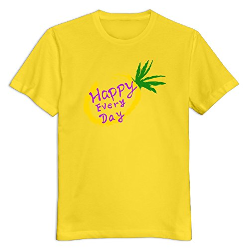 - Men's 100% Cotton Pineapple T-Shirt Yellow US Size S