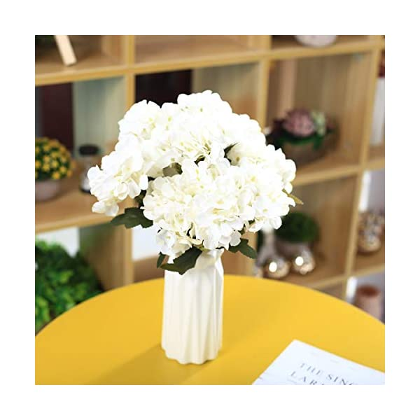 UltraOutlet 3 Packs White Silk Hydrangea Flowers with Flower Vase 18 Heads Artificial Hydrangea Flowers Bouquets Arrangement Centerpiece for Weddings, Birthday Parties, Home and Office Decorations