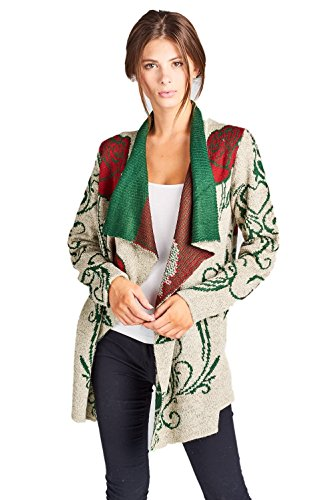 (ReneeC. Women's Aztec Print Winter Open Front Warm Knit Cardigan Sweater (Small, Taupe))