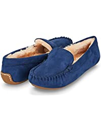 Womens Indoor/Outdoor Faux Fur Lined Basic Moccasins Slipper W/Memory Foam