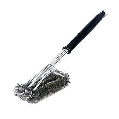 Grill Brush, AuralFresh BBQ Brush Cleaner 3 in 1 Stainless Steel Woven Wire Barbecue Grill Brush with Bristles for Ceramic, Iron, Gas & Porcelain Barbecue Grates by AuralFresh