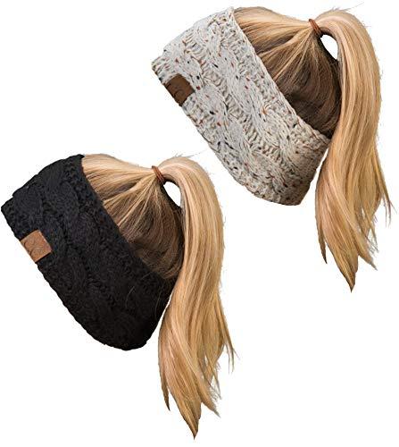 HW-6033-2-67-20a-06 Headwrap Bundle - 1 Confetti Oatmeal, 1 Solid Black (2 Pack) (Headbands For Buns)