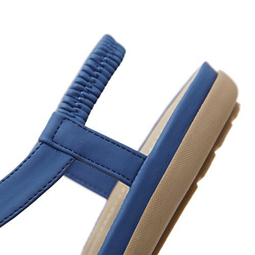 Infradito Piatti a Donna con T Sandali Chiusura Estate blu Modello da KUONUO Sandali con da w8qSTAa