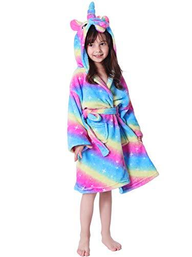 LANTOP Kids Soft Bathrobe Comfy Unicorn Flannel Robe Unisex Hooded Gift All Seasons Sleepwear (6-7 Years, Rainbow and Starry)