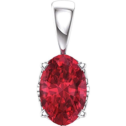 14K White Gold Chatham Created Ruby Pendant - Gold Chatham Ruby Pendant