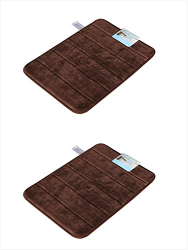 """Sofantex Rugs Luxurious Memory Foam Bath Rug, Brown, 17"""" L x 24"""" H, 2 Piece - Polyurethane backing Machine wash cold, tumble dry low or lay flat to dry Microfiber memory foam - bathroom-linens, bathroom, bath-mats - 41i0MgQmNUL -"""