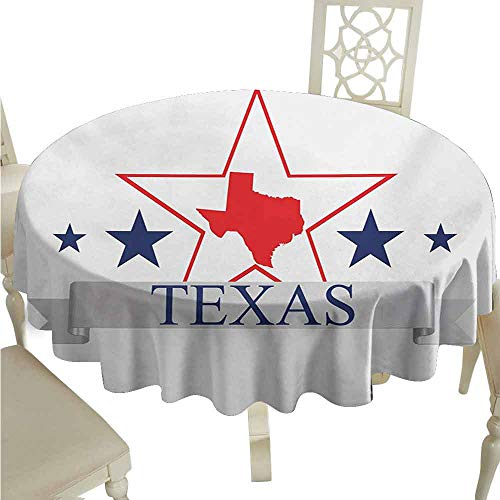 duommhome Texas Star Spill-Proof Tablecloth San Antonio Dallas Houston Austin Map with Stars Pattern USA Easy Care D59 Navy Blue Vermilion Pale Grey