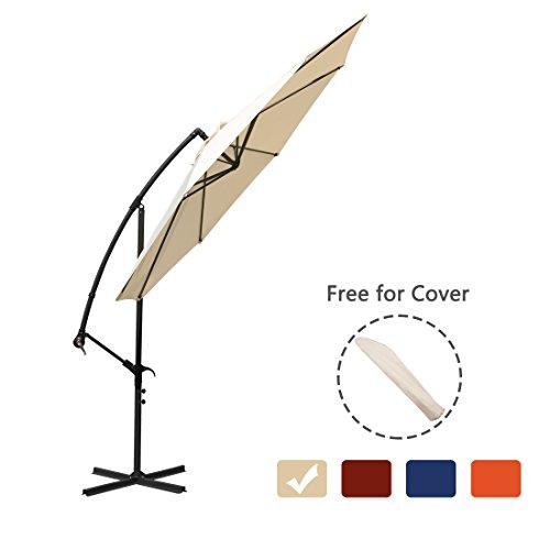 Offset Umbrella 10 Ft Cantilever Patio Umbrella Outdoor Market Umbrella with Cross Base and Cover (Beige)