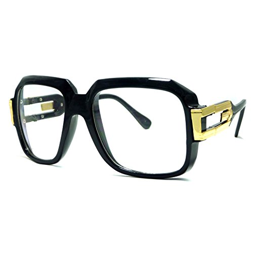HIP Hop Rapper Retro DJ Large Oversized Clear Lens Eye Glasses (Black - Rapper Retro