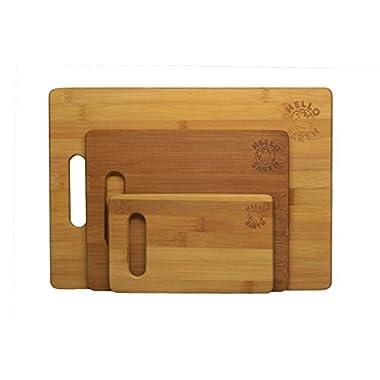 Hello Earth 3 Piece Bamboo Cutting Board Set