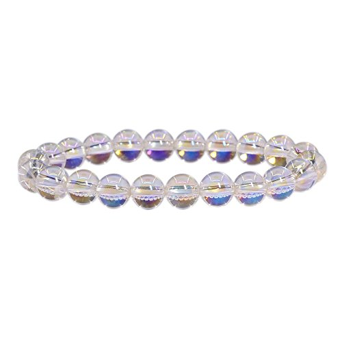 Aqua Aura Clear Quartz Gemstone 8mm Round Beads Stretch Bracelet 7
