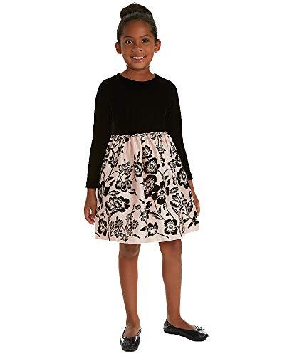 Rare Editions Toddler Girls Velvet Satin Flocked Dress (Black, 2T)
