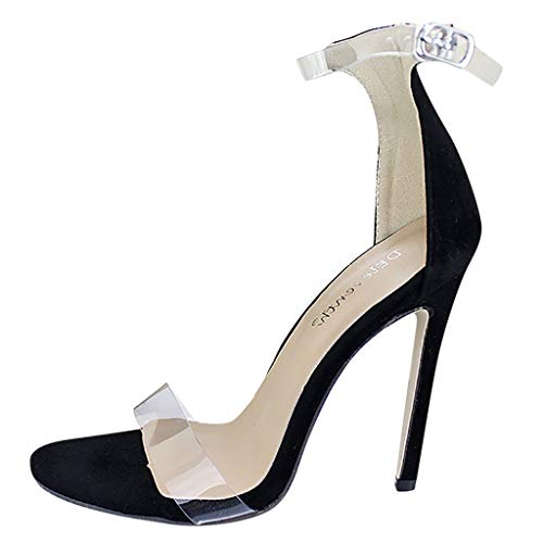 Women's Heeled Sandals,Sexy Ankle Strap High Heels 11CM Open Toe Mid Heel Sandals Bridal Party Shoes,35-43 Black