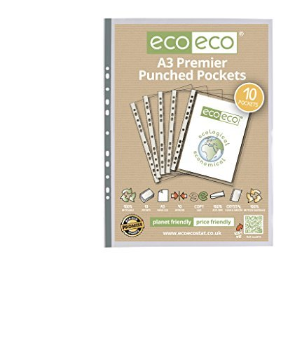 20 x eco-eco A3 100% Recycled Premier Clear Portrait Punched Pockets x 10 by (Eco Punched Pocket)