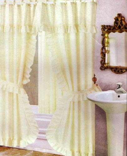 Double Swag Shower Curtain Liner And Rings Beige