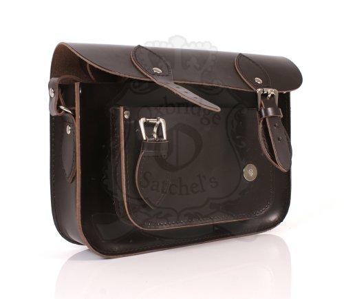 """11""""chocolate marrón piel funda de piel Oxbridge Satchel–Cierre magnético–Classic Retro Moda portátil/bolso de escuela"""