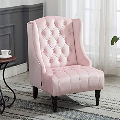 """Artechworks Velvet Tufted High Back Accent Chair for Living Room, Bedroom, Home Office, Hosting Room, Wingback Club Chair, Pink Color - CLASSIC STYLE: Crafted of solid and manufactured wood, and upholstered with a Velvet. The high wingback club design is a perfect addition for any room in your home. The tufting and curved sides add charm to the overall design. SIZE:Seat Width: 19.7""""; Seat Depth: 21.3""""; Seat Height: 18.9""""; Arm Height: 24"""". Overall Dimension: 31.1""""(L) x 31.1""""(W) x 38.2""""(H) LIVING ROOM & MORE: Our wingback chair is the perfect addition to any house or apartment. Use it in your TV room, office, dining room, or bedroom. - living-room-furniture, living-room, accent-chairs - 41i0OsVa1sL. SS400  -"""