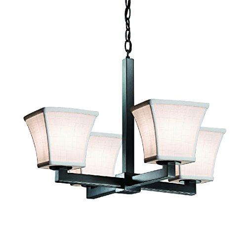 - Justice Design Group Lighting FAB-8829-40-WHTE-MBLK-LED4-2800 Textile - Modular 4-Light Chandelier - Square Flared Shade - White - LED Matte Black