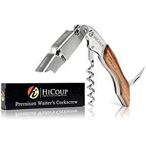 Waiters Corkscrew by HiCoup – Professional Ebony Wood All-in-one Corkscrew, Bottle Opener and Foil Cutter, the Favoured Wine Opener of Sommeliers, Waiters and Bartenders