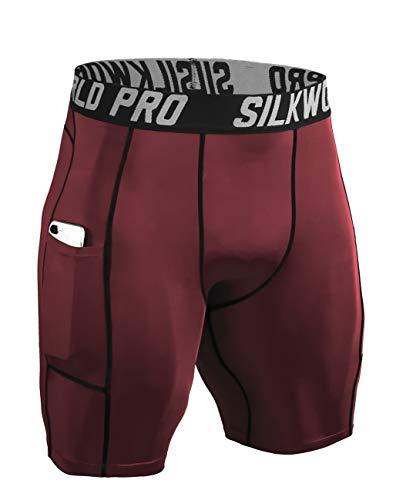 SILKWORLD Men's Compression Shorts Pockets Sports Running Tight (X-Large, 0788-Pockets: Dark ()