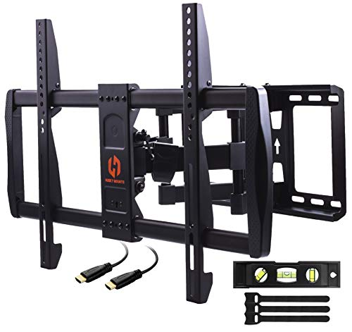 Husky Mounts Swivel TV Wall Mount Fits Most 37 – 70 Inch LED LCD OLED Smart Plasma Flat Screen Full Motion Tilt Articulating Dual Arm TV Bracket. VESA 600x400, 400x400 and Smaller, 80 Lbs Capacity