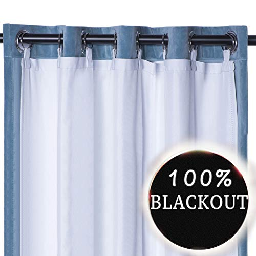 RHF Thermal Insulated Blackout Curtain Liner White Panel-Ring included- thermal liner for curtains/drapes,Curtain liner 100% Darkening,Blackout Liner for 84 inch curtains:50'x80'-Ring