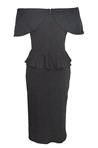 Colorati Dalla Increspato Solidi Vestito Misura donne Spalla Coolred Nero Metà Backless wIf7Zxq