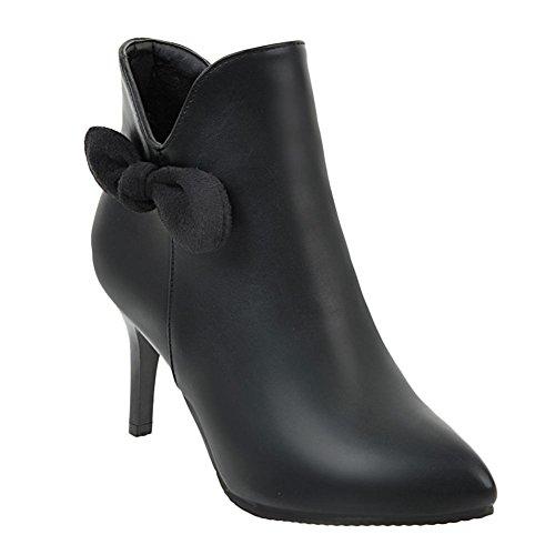 Charm Foot Mujeres Fashion Bows Punta Estrecha Cremallera De Tacón Alto Botines Negro