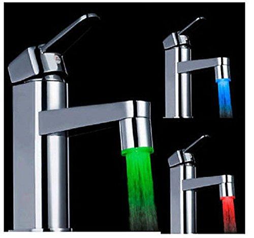 Nueva mágico 3Color LED Luz Agua llave Grifo Temperatura Sensor para baño