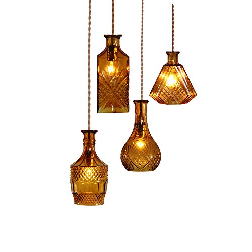 Price comparison product image MASO HOME,  The Varieties Wine Bottle Shape Unique Design of A Special Style Features Pendant Ceiling Light,  Pendant Hanging Lamps,  Retro Industrial Lamp Vintage,  in TYPE SET (A / B / C / D) (Amber)