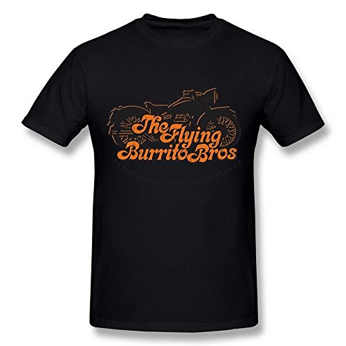 AICH Men's The Flying Burrito Brothers Band Motorcycle Logo Black T Shirt