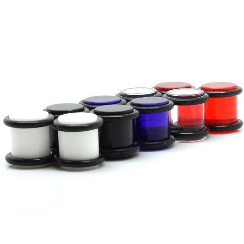 00G Ear Plugs Spacers Gauges 10 Piece Set - Black, Red, White, Blue & Clear - Pair In Each Color