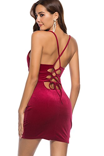 Back Strappy Cross Bodycon Criss CAT Velvet CHERRY Burgundy Dress 6RTOq