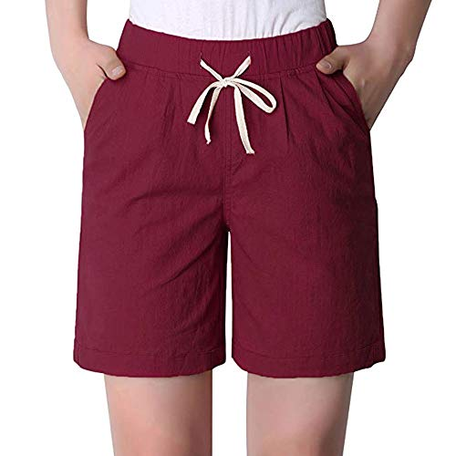 Women's Summer Modest Loose Elastic Waisted Bermuda Drawstring Casual Shorts Wine Red Tag 5XL-US ()