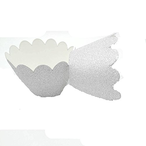 Hemarty Glitter Silver Scalloped Cupcake Wrappers Silver Paper Cupcake Liners Cardstock Paper Cups Wedding Birthday Cake (Elegant Satin Cake Card Box)