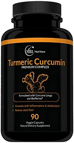 VitaNutritions Non-GMO Turmeric Curcumin with BioPerine, 90 Veggie Capsules with 95 Curcuminoids for Healthy Joints Strong Immune System